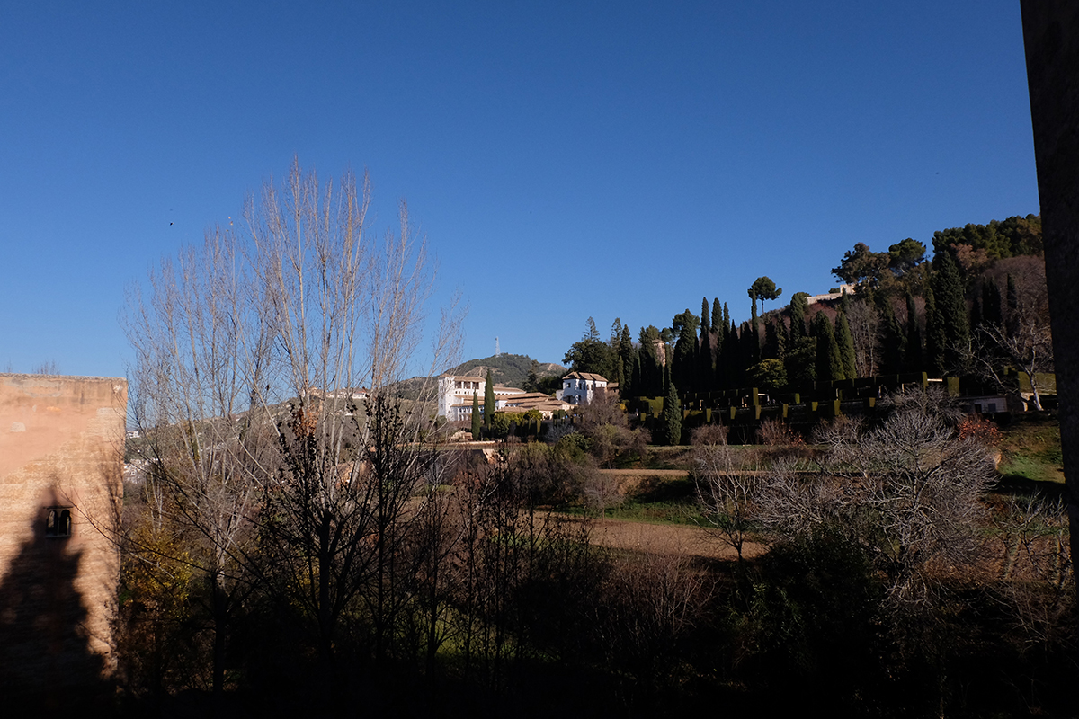 El Generalife from the gardens of the Partal.