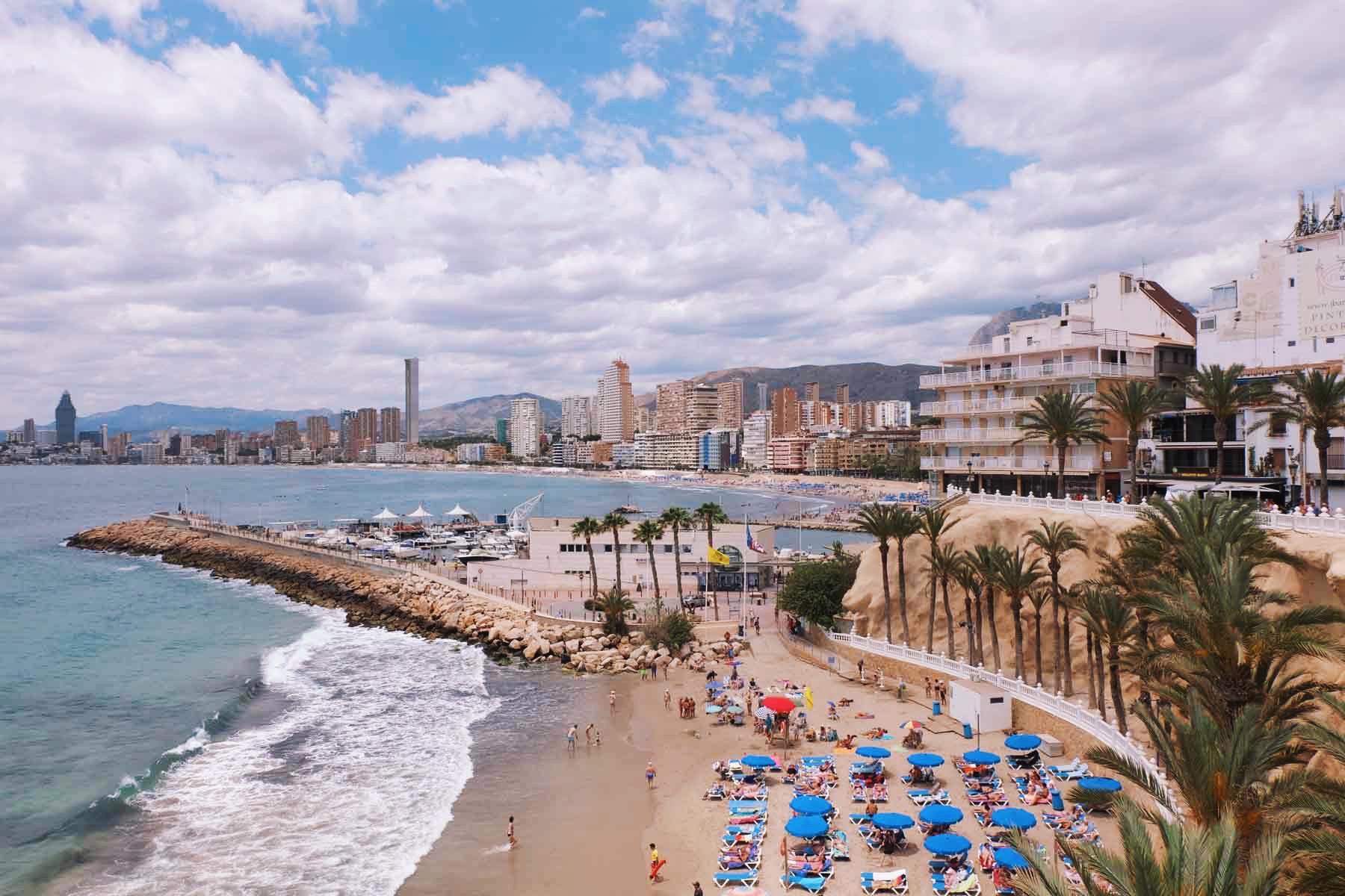 Playa de Poniente on a cloudy day.