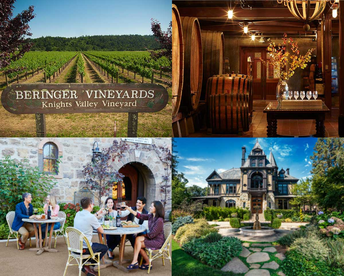 THe vineyards, the Old wine tasting room, the cave, and the Rhine-House. | Photos vía Beringer Vineyards' website.
